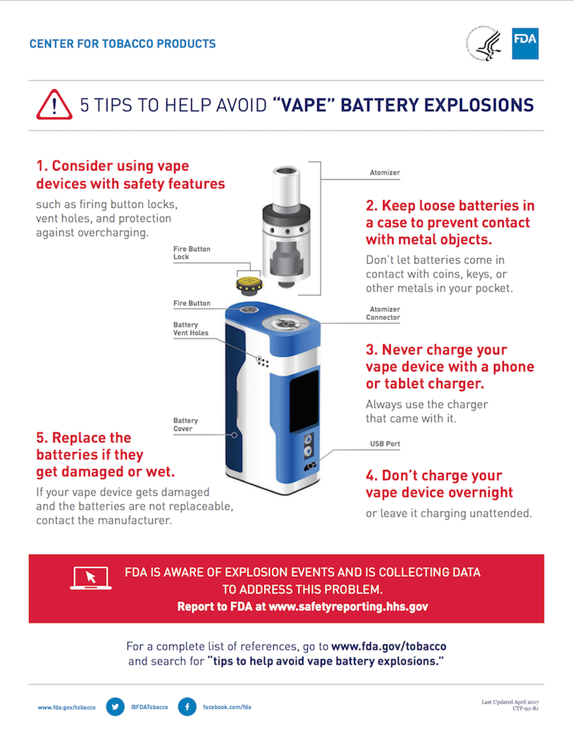 Battery Safety. Battery precautions suggested by the FDA